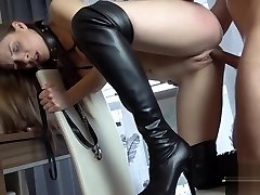 babe in thigh high boots on a leash pussy penetrated