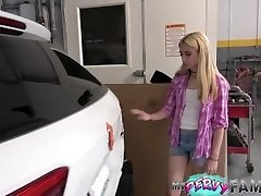 Fucking Daddy And Taking His Phat Jizz Facial In Car Garage