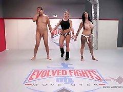 Jen Hexxx bites Racker's plums in this naked wrestling match