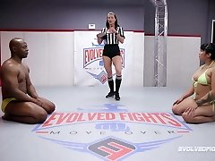 Mia Little competitive nude grappling vs BBC of Will Tile