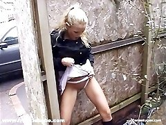 Kinky blonde honey has a real fetish for pissing in public