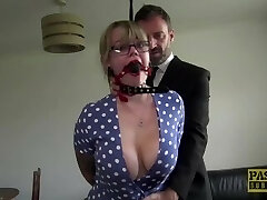 Chubby sub restrained and bashed by maledom Pascal White