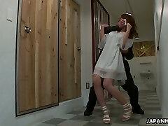Buxom Japanese hot girl Sayaka Fukuyama gets hairy cooch drilled by dudes