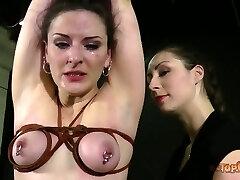 Some female domination restrain bondage sex games with a naughty whore Caroline Pierce