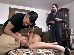 Pool boy and his fellow fuck hypnotizing milf with large boobs London River