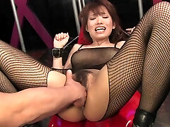 Busty brunette gets her hairy slit fingered and clit taunted
