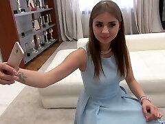 Sweet Russian beauty Julia F is eager to take double stiffy penetration