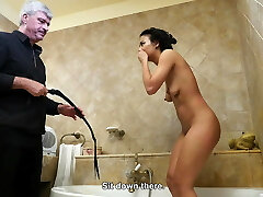 Groaning bitch pussy whipped in the bathroom