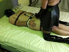Trio Day Taut Bondage Part 2 - Teased, Edged, Denied & Ballbusted By Cruel Leather Mistress