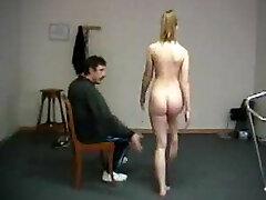 Humiliating naked exercises for teacher slapping shame
