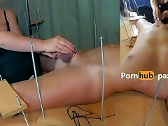 First-timer Femdom. I played with the Caged Cock and Balls from my Chastitythen I Waxed his Cock