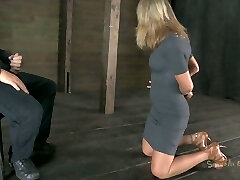 Talkative fuckslut Simone Sonay gets her hands tied up and has to suck a cock