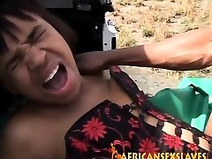 Rough outdoor banging with a insane African slut and large
