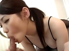 Slutty Japanese stunner in black nylon gets her hairy snatch smashed brutally