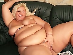 Naughty BBW Melinda Shy is far from shy as she strips off and masturbate for the camera