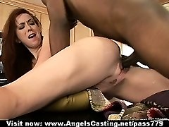Passionate redhead babe fucked hard in extreme positions on table