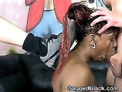 Black Slut Getting Her Face Plowed With White Cock