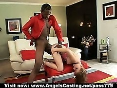 Wonderful sexy blonde girl with natural tits doing blowjob