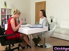 Classy casting lesbians finger plow in office
