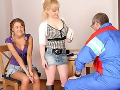 TrickyOldTeacher - Two hot coeds get naked and give mature instructor three-way and deep throating