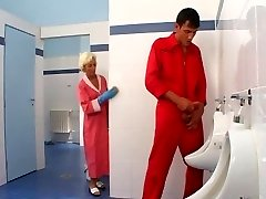 Mature hook-up in toilet
