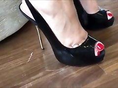 Killer Metal Heels On Wooden Floor