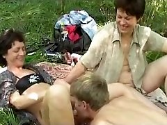 Nasty russian picnic with humungous b(.)(.)bs mature