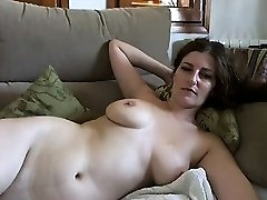 Huge-titted mature dark-haired with huge boobs and hairy pussy strips