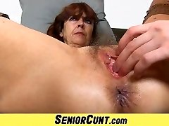 Unshaved old pussy of grannie Lada on close-ups