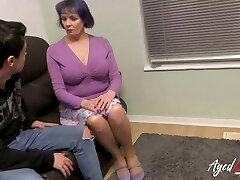 AgedLovE Buxom British Mature Fucks Teenage Guy