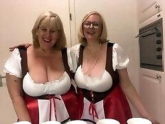 Oktoberfest - 2 huge-boobed topless blondes
