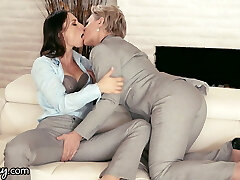 GIRLSWAY Mature Lezzy Gifts Aidra Fox a Power Suit