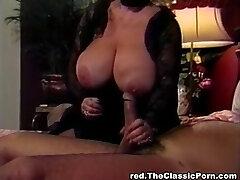 Blonde slut tit pokes lucky cock
