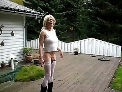 Jeannet Fuentes stiff shemale cock in the garden