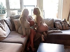 Hot milf with enormous fake orbs & her friend