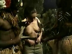 Buxomy Brunette Gets Fucked By Jungle Big Black Cock Monsters