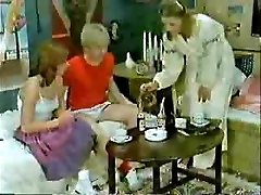 Step-brother's friend and girlfriend playing to the doctor when mother  comes-Retro