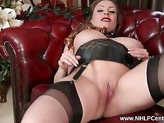 Natural huge bosoms brunette Sophia Delane wanks in nylon heels