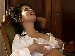 Lesbian Secretary Tongues the Unshaved Pussy Doctor