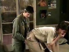 Jamie Summers, Kim Angeli, Tom Byron in old-school fuckfest scene