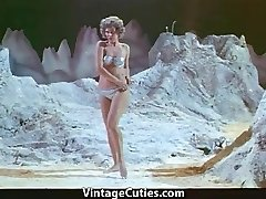 Lady Astronaut Stripteases on the Moon (1960s Vintage)