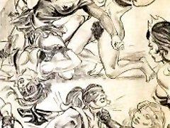 Amazons dominate in mixed wrestling girl/girl wrestling art comics