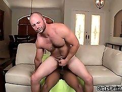 Hairy gay bear takes large black gay part6