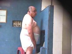 Fat daddy in the sauna