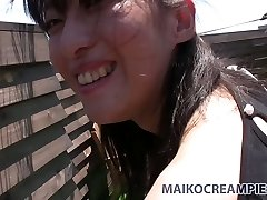 Ugly Asian brunette Miki Sugimoto blows cock and nails doggy fashion outside