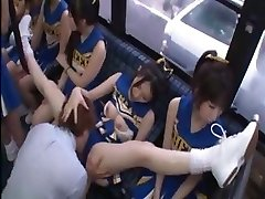 Mischievous Japanese cheerleaders in a molten group sex fuck for all