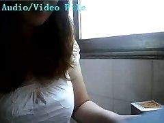 Japanese gal lactating on webcam