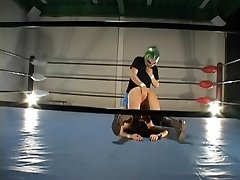 Busty furry Jap banged in a grappling ring