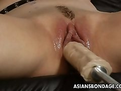 Jaw-dropping platinum-blonde bitch dominates the slut with a fuck machin