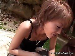 Asian Nubile In Lezzie Femdom Roleplay on Public Beach